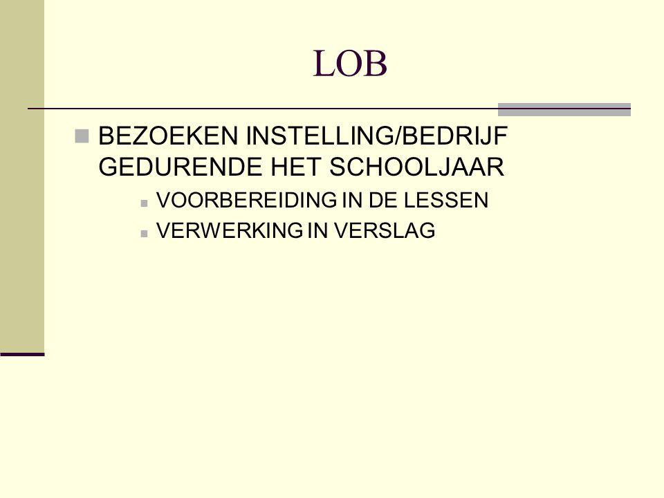 LOB BEZOEKEN INSTELLING/BEDRIJF GEDURENDE HET SCHOOLJAAR VOORBEREIDING IN DE LESSEN VERWERKING IN VERSLAG