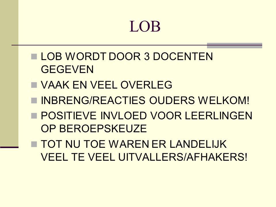 LOB LOB WORDT DOOR 3 DOCENTEN GEGEVEN VAAK EN VEEL OVERLEG INBRENG/REACTIES OUDERS WELKOM! POSITIEVE INVLOED VOOR LEERLINGEN OP BEROEPSKEUZE TOT NU TO