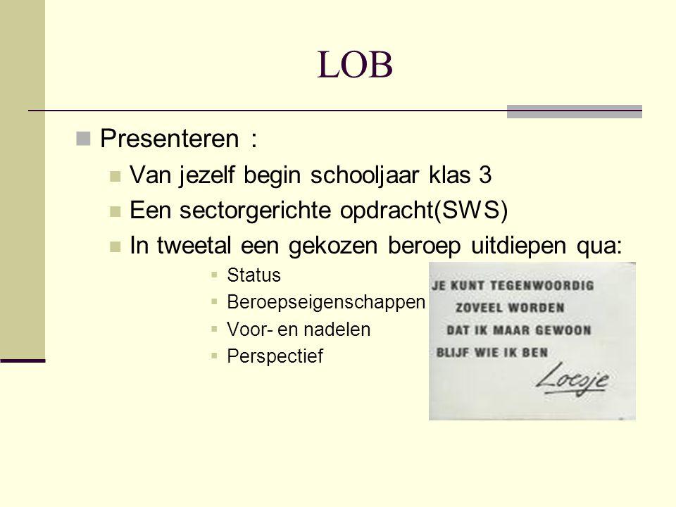 LOB Presenteren : Van jezelf begin schooljaar klas 3 Een sectorgerichte opdracht(SWS) In tweetal een gekozen beroep uitdiepen qua:  Status  Beroepse