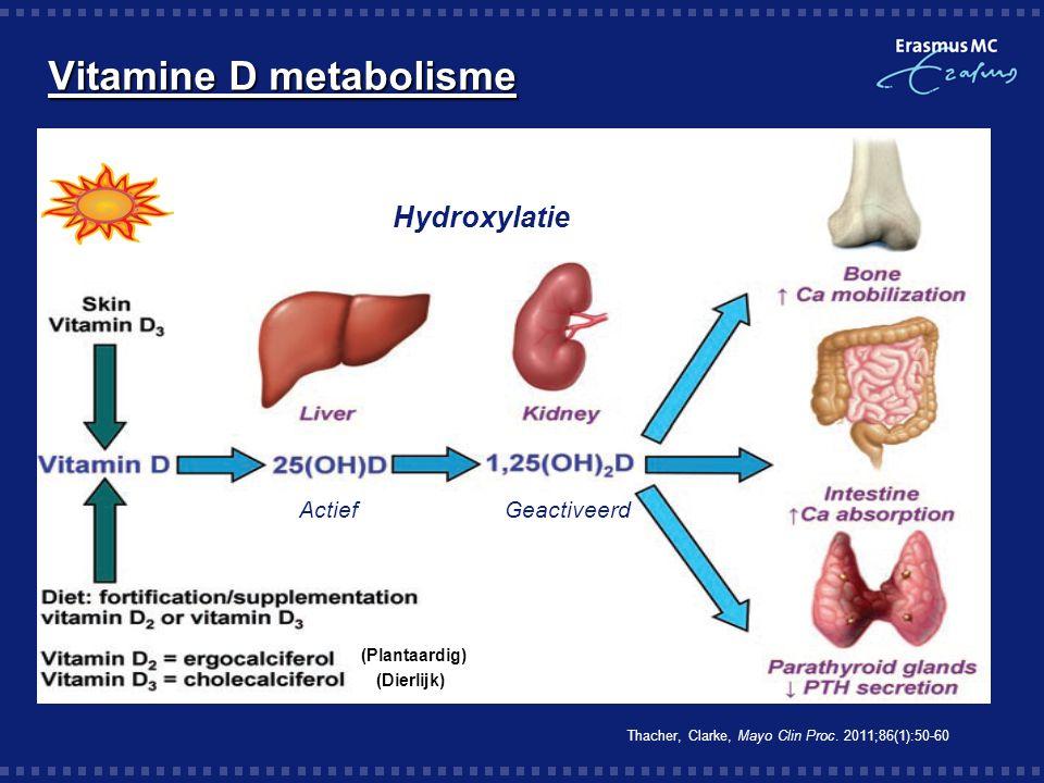 Vitamine D metabolisme Hydroxylatie Thacher, Clarke, Mayo Clin Proc. 2011;86(1):50-60 ActiefGeactiveerd (Plantaardig) (Dierlijk)