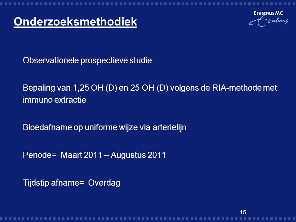 Onderzoeksmethodiek  Observationele prospectieve studie  Bepaling van 1,25 OH (D) en 25 OH (D) volgens de RIA-methode met immuno extractie  Bloedaf
