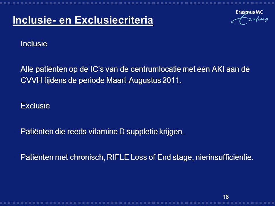 Inclusie- en Exclusiecriteria  Inclusie  Alle patiënten op de IC's van de centrumlocatie met een AKI aan de CVVH tijdens de periode Maart-Augustus 2