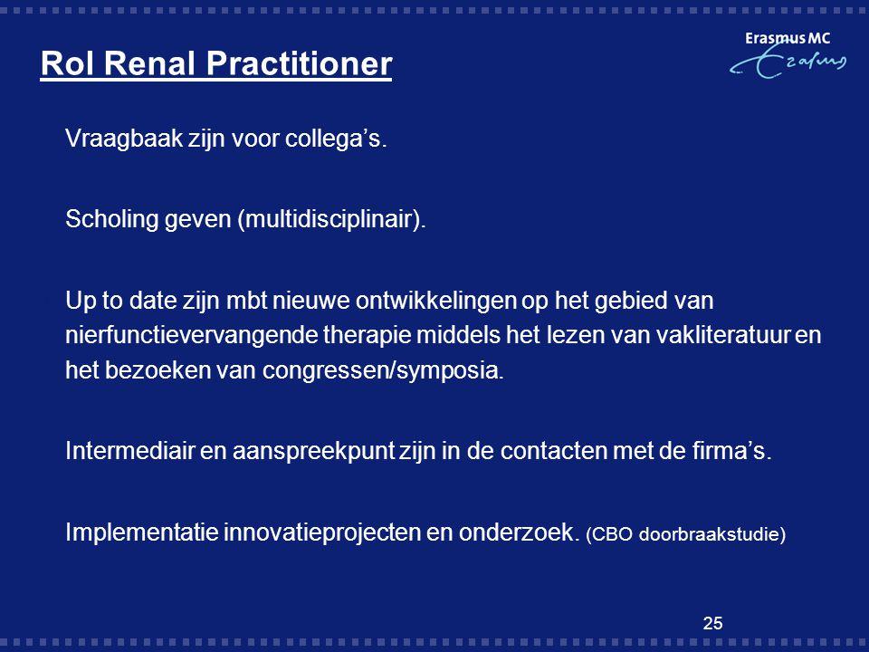 Rol Renal Practitioner  Vraagbaak zijn voor collega's.  Scholing geven (multidisciplinair).  Up to date zijn mbt nieuwe ontwikkelingen op het gebie