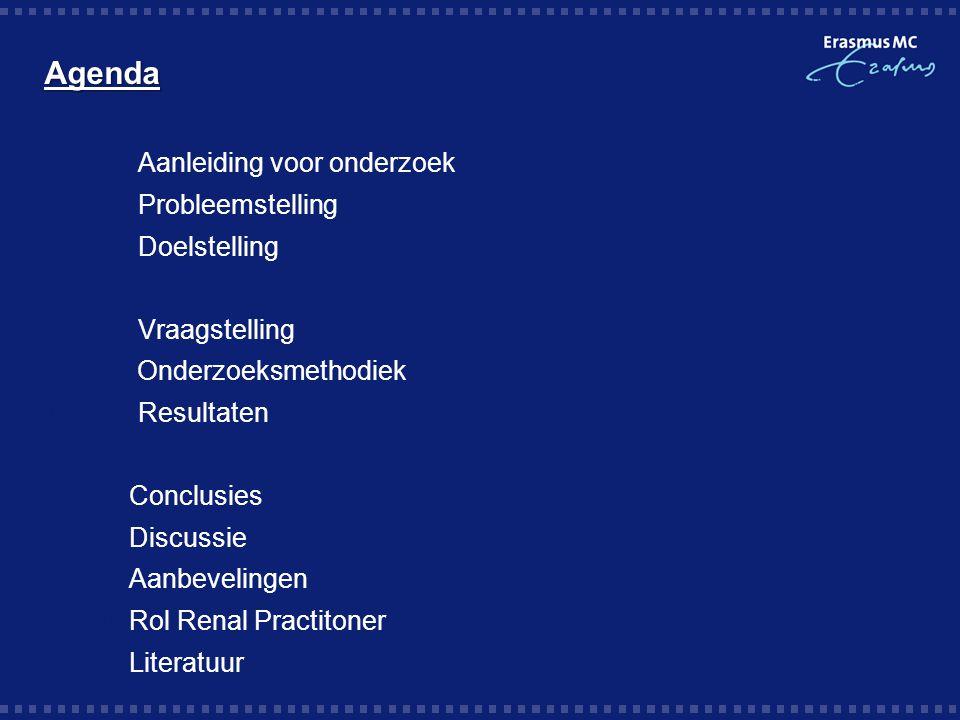 Agenda Aanleiding voor onderzoek Probleemstelling Doelstelling  Vraagstelling  Onderzoeksmethodiek  Resultaten  Conclusies  Discussie  Aanbeveli