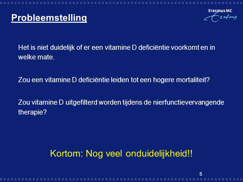 Probleemstelling  Het is niet duidelijk of er een vitamine D deficiëntie voorkomt en in welke mate. Zou een vitamine D deficiëntie leiden tot een hog