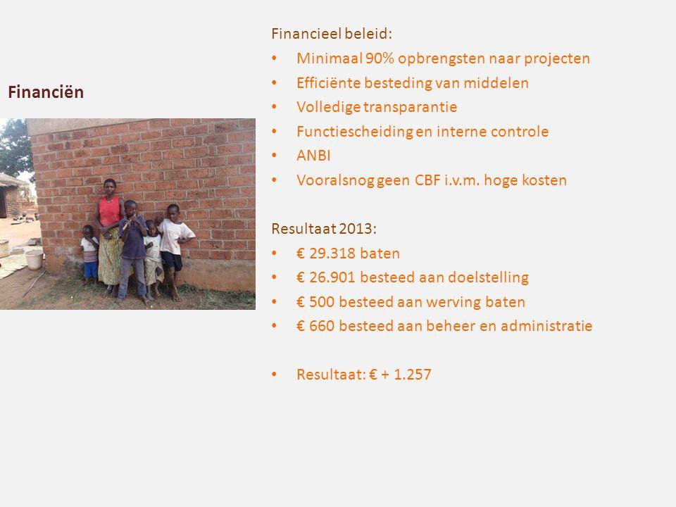Financiën Financieel beleid: Minimaal 90% opbrengsten naar projecten Efficiënte besteding van middelen Volledige transparantie Functiescheiding en interne controle ANBI Vooralsnog geen CBF i.v.m.