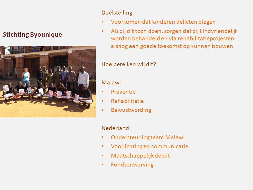 Stichting Byounique Doelstelling: Voorkomen dat kinderen delicten plegen Als zij dit toch doen, zorgen dat zij kindvriendelijk worden behandeld en via rehabilitatieprojecten alsnog een goede toekomst op kunnen bouwen Hoe bereiken wij dit.
