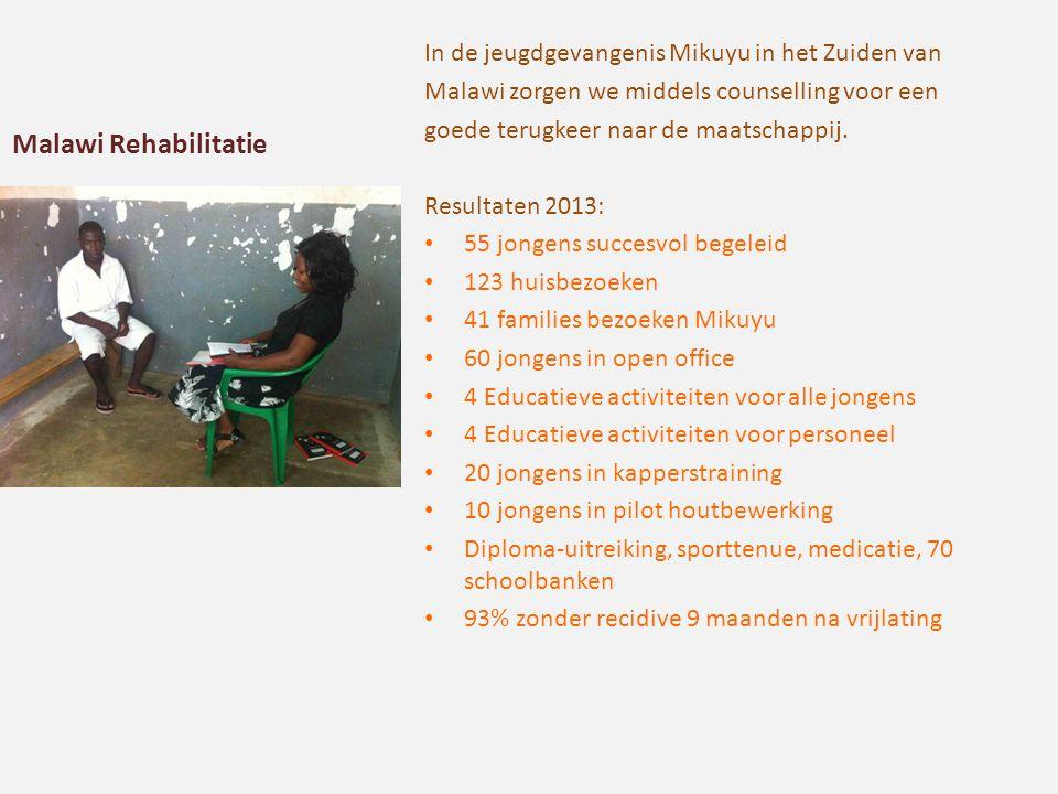 Malawi Rehabilitatie In de jeugdgevangenis Mikuyu in het Zuiden van Malawi zorgen we middels counselling voor een goede terugkeer naar de maatschappij