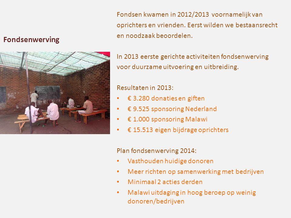 Fondsen kwamen in 2012/2013 voornamelijk van oprichters en vrienden. Eerst wilden we bestaansrecht en noodzaak beoordelen. In 2013 eerste gerichte act