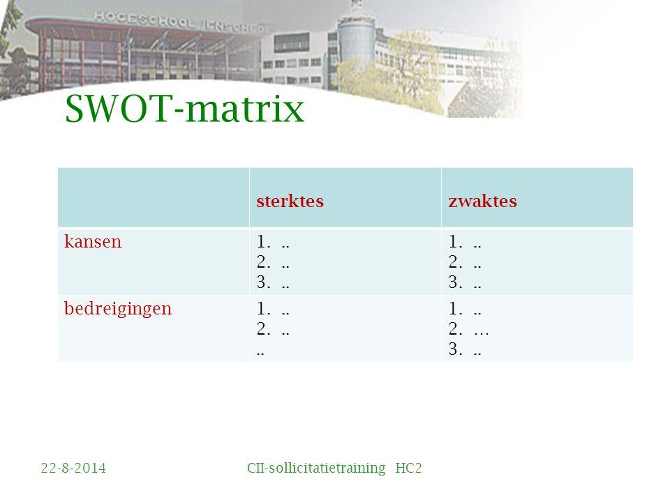 SWOT-matrix sterkteszwaktes kansen1...2... 3... 1...
