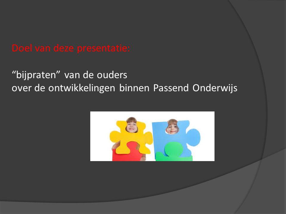 Doel van deze presentatie: bijpraten van de ouders over de ontwikkelingen binnen Passend Onderwijs