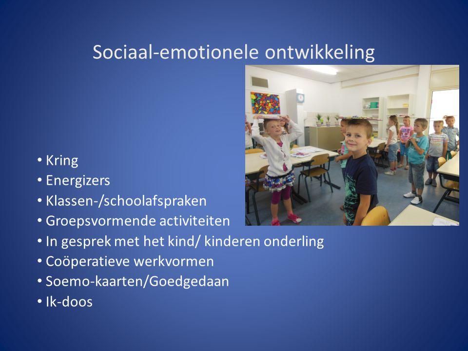 Sociaal-emotionele ontwikkeling Kring Energizers Klassen-/schoolafspraken Groepsvormende activiteiten In gesprek met het kind/ kinderen onderling Coöp