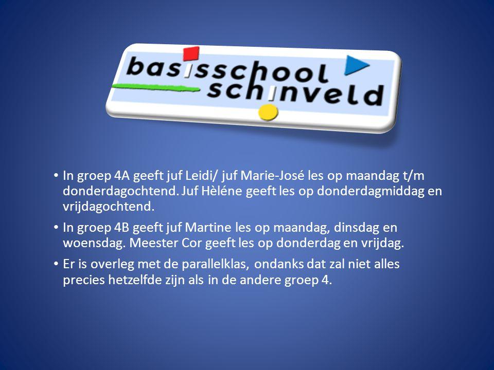 In groep 4A geeft juf Leidi/ juf Marie-José les op maandag t/m donderdagochtend. Juf Hèléne geeft les op donderdagmiddag en vrijdagochtend. In groep 4