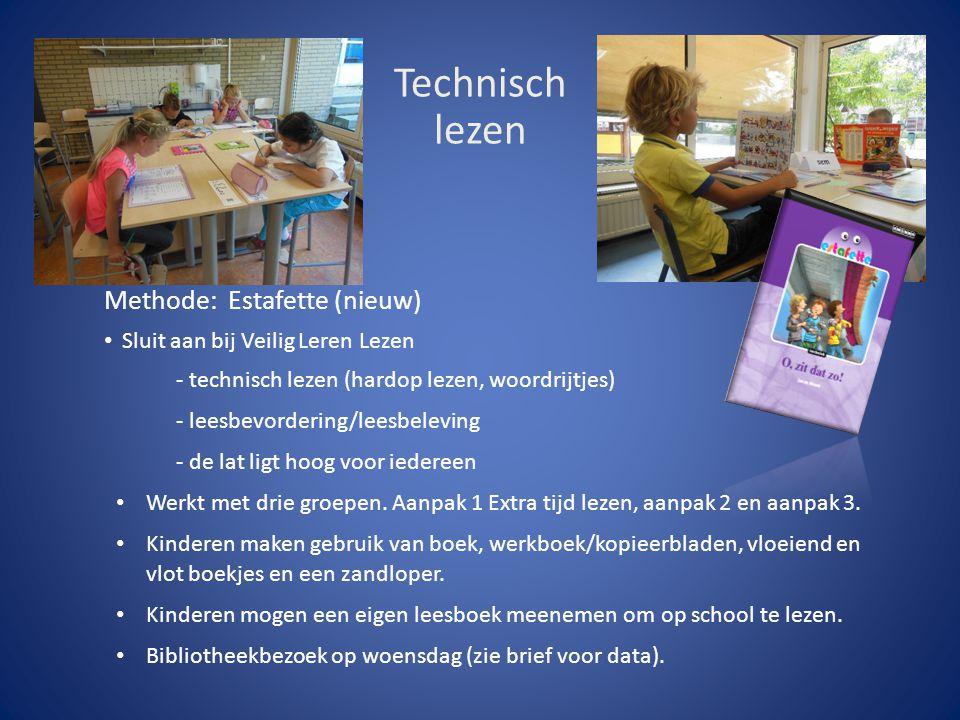 Technisch lezen Methode: Estafette (nieuw) Sluit aan bij Veilig Leren Lezen - technisch lezen (hardop lezen, woordrijtjes) - leesbevordering/leesbelev