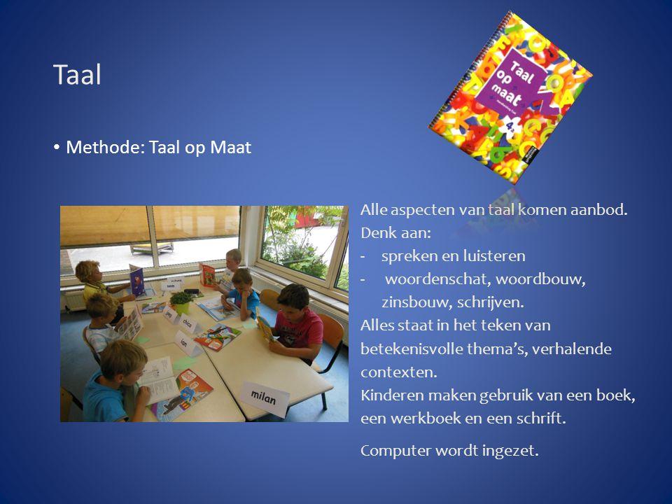 Spelling Methode: Taal op Maat Na 2 lessen een woorddictee Na 8 lessen een zinnendictee Categorieën komen aan bod Op de computer wordt geoefend.