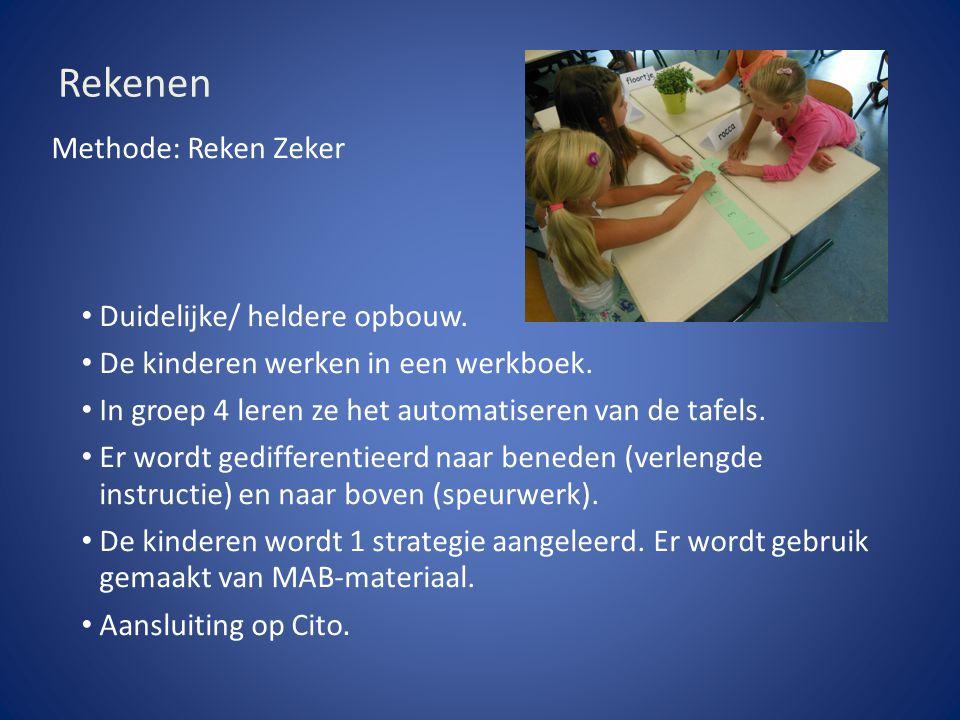 Rekenen Methode: Reken Zeker Duidelijke/ heldere opbouw. De kinderen werken in een werkboek. In groep 4 leren ze het automatiseren van de tafels. Er w
