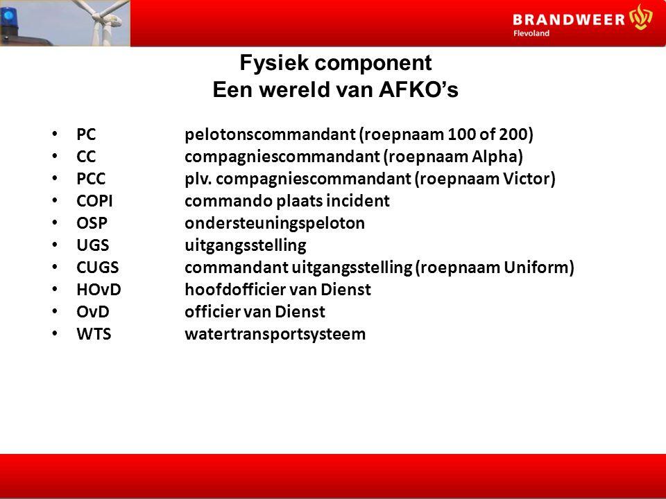 Fysiek component Een wereld van AFKO's PC pelotonscommandant (roepnaam 100 of 200) CC compagniescommandant (roepnaam Alpha) PCC plv.