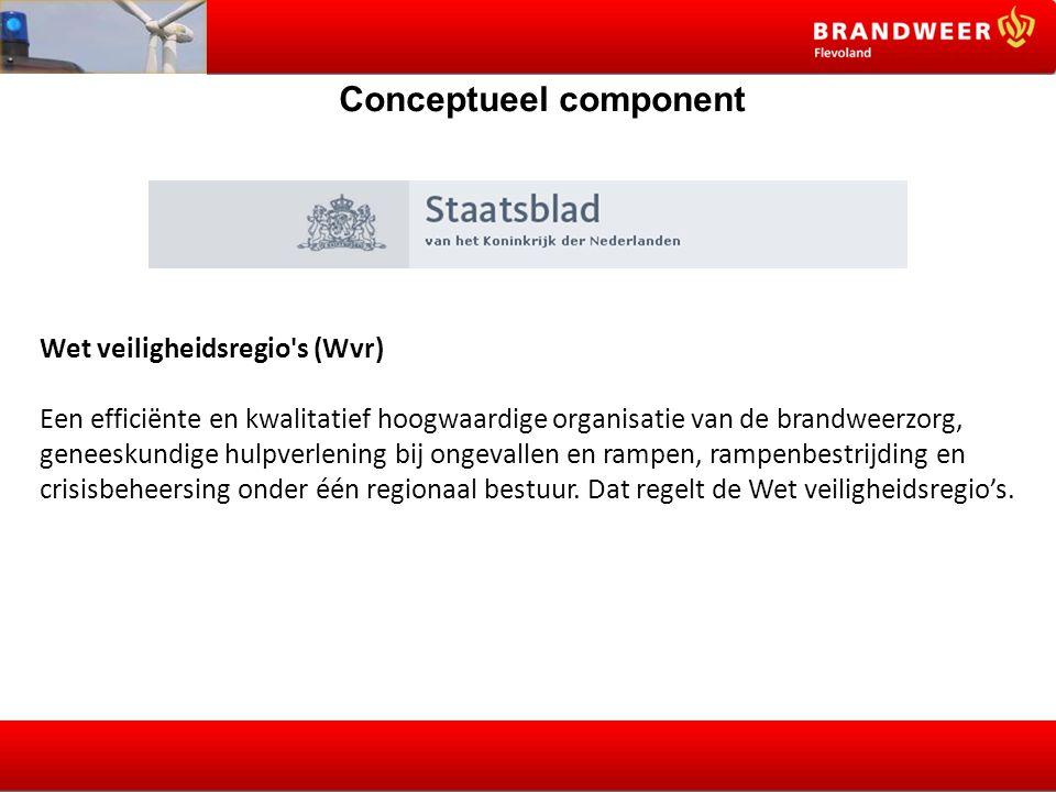 Conceptueel component Wet veiligheidsregio's (Wvr) Een efficiënte en kwalitatief hoogwaardige organisatie van de brandweerzorg, geneeskundige hulpverl