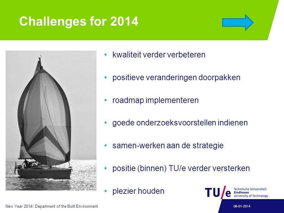 Challenges for 2014 kwaliteit verder verbeteren positieve veranderingen doorpakken roadmap implementeren goede onderzoeksvoorstellen indienen samen-we