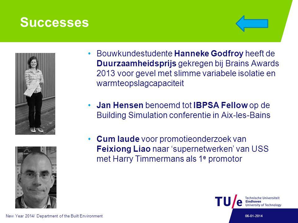 Successes Bouwkundestudente Hanneke Godfroy heeft de Duurzaamheidsprijs gekregen bij Brains Awards 2013 voor gevel met slimme variabele isolatie en wa