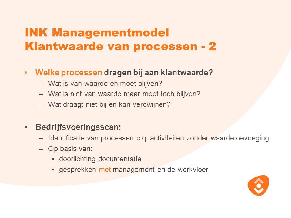 INK Managementmodel Klantwaarde van processen - 2 Welke processen dragen bij aan klantwaarde? –Wat is van waarde en moet blijven? –Wat is niet van waa