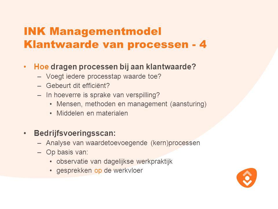 INK Managementmodel Klantwaarde van processen - 4 Hoe dragen processen bij aan klantwaarde? –Voegt iedere processtap waarde toe? –Gebeurt dit efficiën