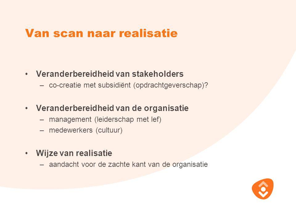 Van scan naar realisatie Veranderbereidheid van stakeholders –co-creatie met subsidiënt (opdrachtgeverschap)? Veranderbereidheid van de organisatie –m