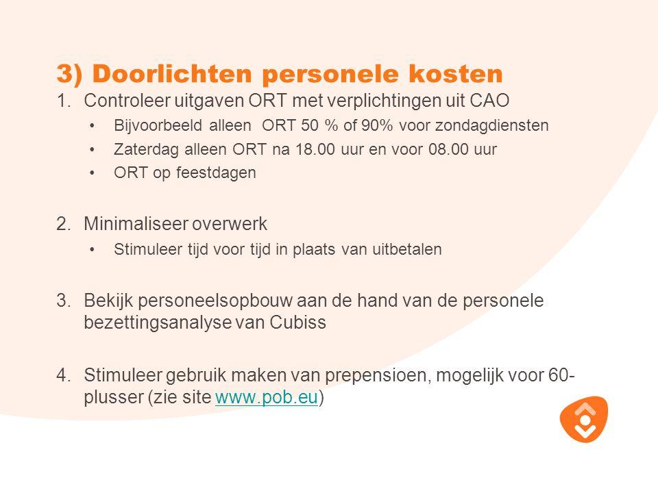 3) Doorlichten personele kosten 1.Controleer uitgaven ORT met verplichtingen uit CAO Bijvoorbeeld alleen ORT 50 % of 90% voor zondagdiensten Zaterdag