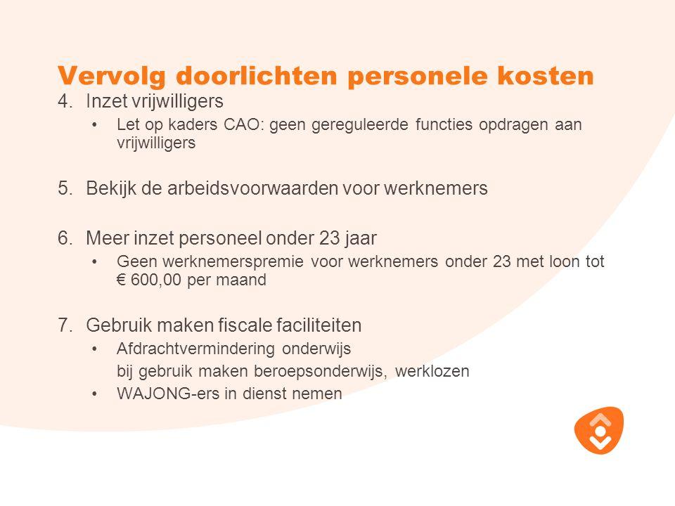 Vervolg doorlichten personele kosten 4.Inzet vrijwilligers Let op kaders CAO: geen gereguleerde functies opdragen aan vrijwilligers 5.Bekijk de arbeid