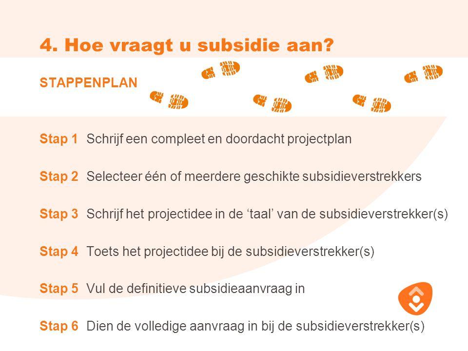 4. Hoe vraagt u subsidie aan.