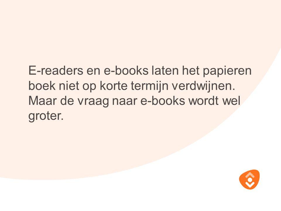 E-readers en e-books laten het papieren boek niet op korte termijn verdwijnen. Maar de vraag naar e-books wordt wel groter.