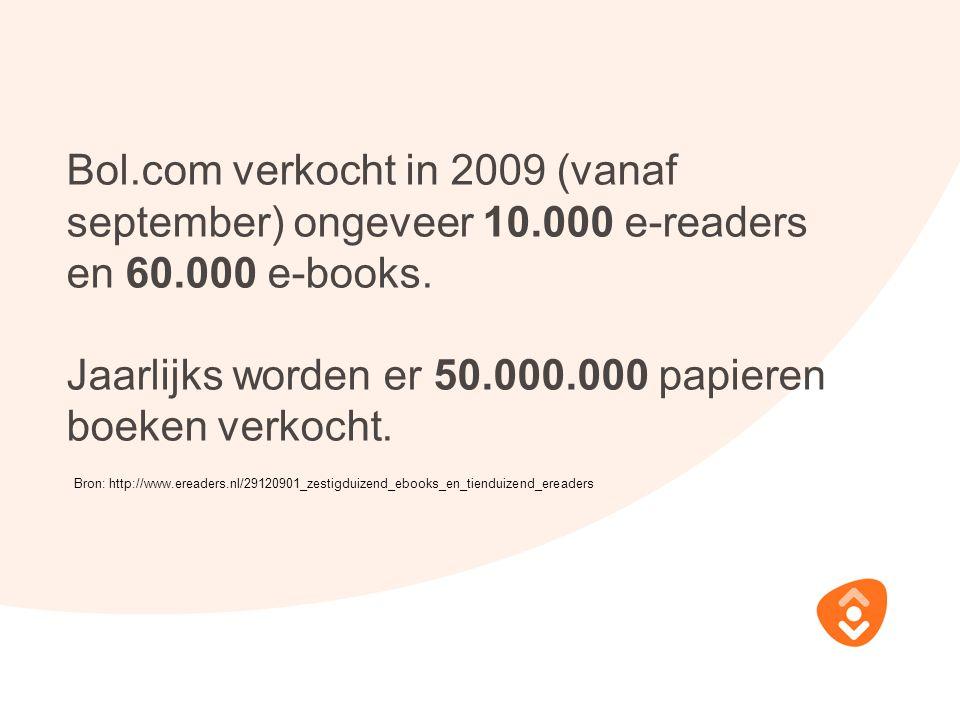 Bol.com verkocht in 2009 (vanaf september) ongeveer 10.000 e-readers en 60.000 e-books. Jaarlijks worden er 50.000.000 papieren boeken verkocht. Bron: