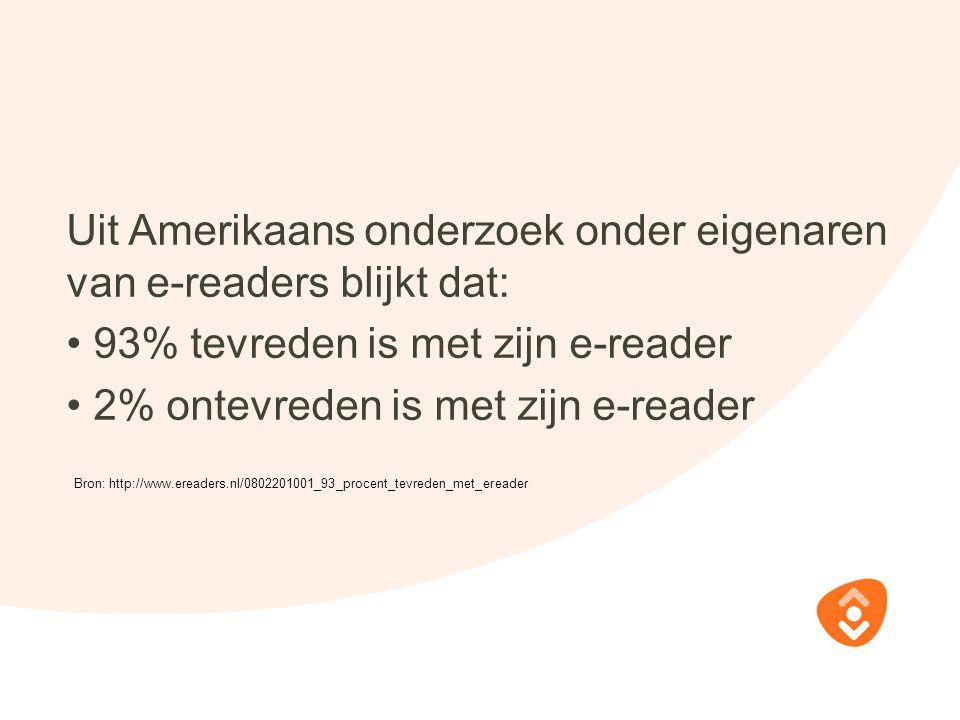 Uit Amerikaans onderzoek onder eigenaren van e-readers blijkt dat: 93% tevreden is met zijn e-reader 2% ontevreden is met zijn e-reader Bron: http://www.ereaders.nl/0802201001_93_procent_tevreden_met_ereader
