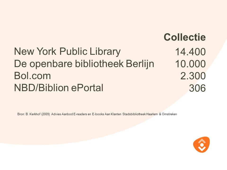 New York Public Library De openbare bibliotheek Berlijn Bol.com NBD/Biblion ePortal Bron: B. Kerkhof (2009) Advies Aanbod E-readers en E-books Aan Kla