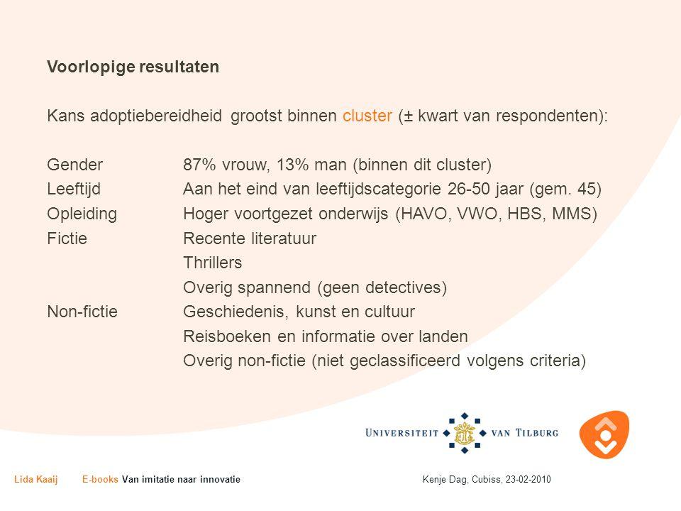 Voorlopige resultaten Kans adoptiebereidheid grootst binnen cluster (± kwart van respondenten): Gender87% vrouw, 13% man (binnen dit cluster) LeeftijdAan het eind van leeftijdscategorie 26-50 jaar (gem.