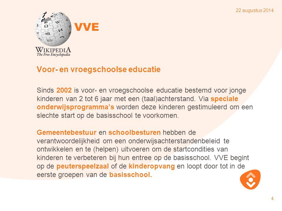 22 augustus 2014 5 Wet Ontwikkelingskansen door Kwaliteit en Educatie Per 1 augustus 2010 zijn gemeenten verantwoordelijk om te zorgen voor voldoende aanbod van voorschoolse educatie dat kwalitatief aan de maat is.