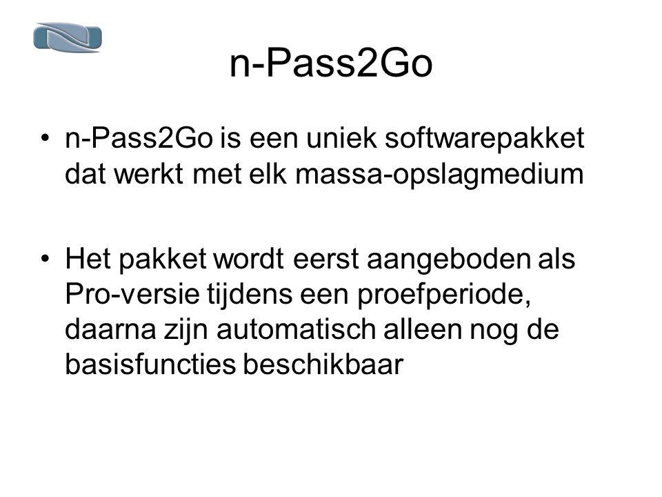 n-Pass2Go n-Pass2Go is een uniek softwarepakket dat werkt met elk massa-opslagmedium Het pakket wordt eerst aangeboden als Pro-versie tijdens een proefperiode, daarna zijn automatisch alleen nog de basisfuncties beschikbaar