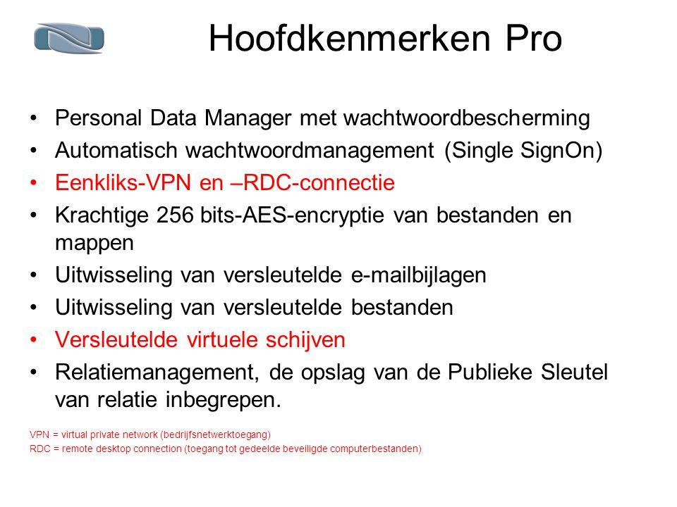 Hoofdkenmerken Pro Personal Data Manager met wachtwoordbescherming Automatisch wachtwoordmanagement (Single SignOn) Eenkliks-VPN en –RDC-connectie Krachtige 256 bits-AES-encryptie van bestanden en mappen Uitwisseling van versleutelde e-mailbijlagen Uitwisseling van versleutelde bestanden Versleutelde virtuele schijven Relatiemanagement, de opslag van de Publieke Sleutel van relatie inbegrepen.