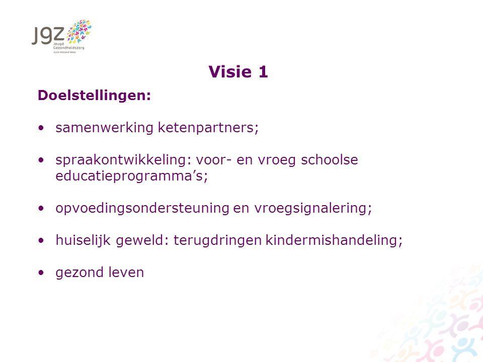 Visie 1 Doelstellingen: samenwerking ketenpartners; spraakontwikkeling: voor- en vroeg schoolse educatieprogramma's; opvoedingsondersteuning en vroegsignalering; huiselijk geweld: terugdringen kindermishandeling; gezond leven