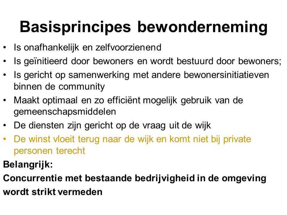 Basisprincipes bewonderneming Is onafhankelijk en zelfvoorzienend Is geïnitieerd door bewoners en wordt bestuurd door bewoners; Is gericht op samenwer
