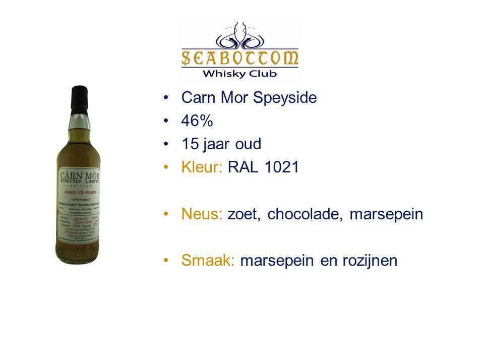 Carn Mor Speyside 46% 15 jaar oud Kleur: RAL 1021 Neus: zoet, chocolade, marsepein Smaak: marsepein en rozijnen