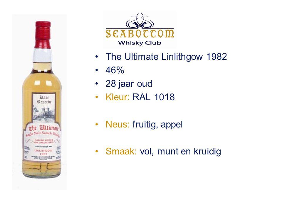 The Ultimate Linlithgow 1982 46% 28 jaar oud Kleur: RAL 1018 Neus: fruitig, appel Smaak: vol, munt en kruidig