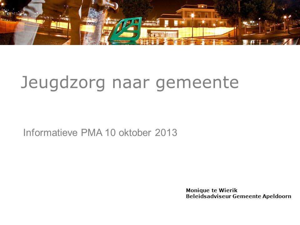 Jeugdzorg naar gemeente Informatieve PMA 10 oktober 2013 Monique te Wierik Beleidsadviseur Gemeente Apeldoorn
