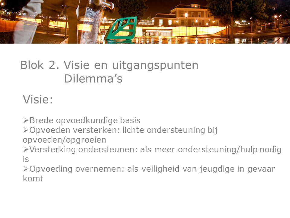 Blok 2. Visie en uitgangspunten Dilemma's Visie:  Brede opvoedkundige basis  Opvoeden versterken: lichte ondersteuning bij opvoeden/opgroeien  Vers