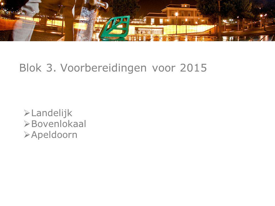 Blok 3. Voorbereidingen voor 2015  Landelijk  Bovenlokaal  Apeldoorn