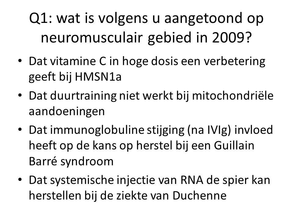 Q3: wat doet valproaat bij ALS? Niets Iets Een heleboel Onbekend, studies lopen nog