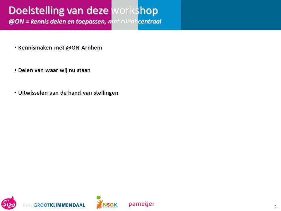 2. Kennismaken met @ON-Arnhem Delen van waar wij nu staan Uitwisselen aan de hand van stellingen Doelstelling van deze workshop @ON = kennis delen en