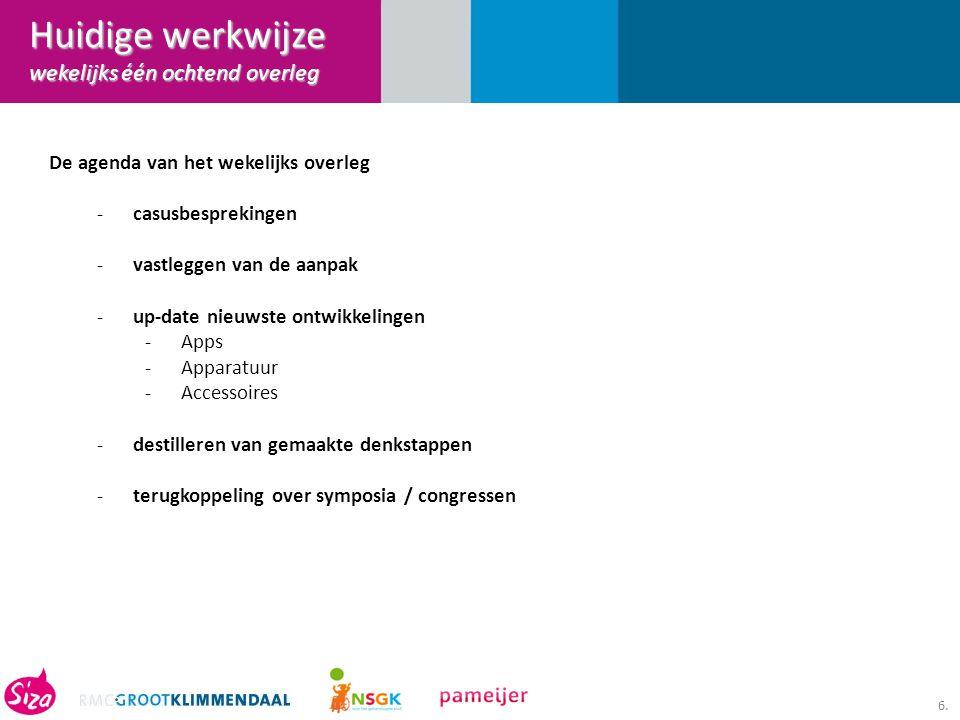 6. De agenda van het wekelijks overleg -casusbesprekingen -vastleggen van de aanpak -up-date nieuwste ontwikkelingen -Apps -Apparatuur -Accessoires -d