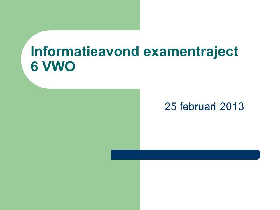 Informatieavond examentraject 6 VWO 25 februari 2013