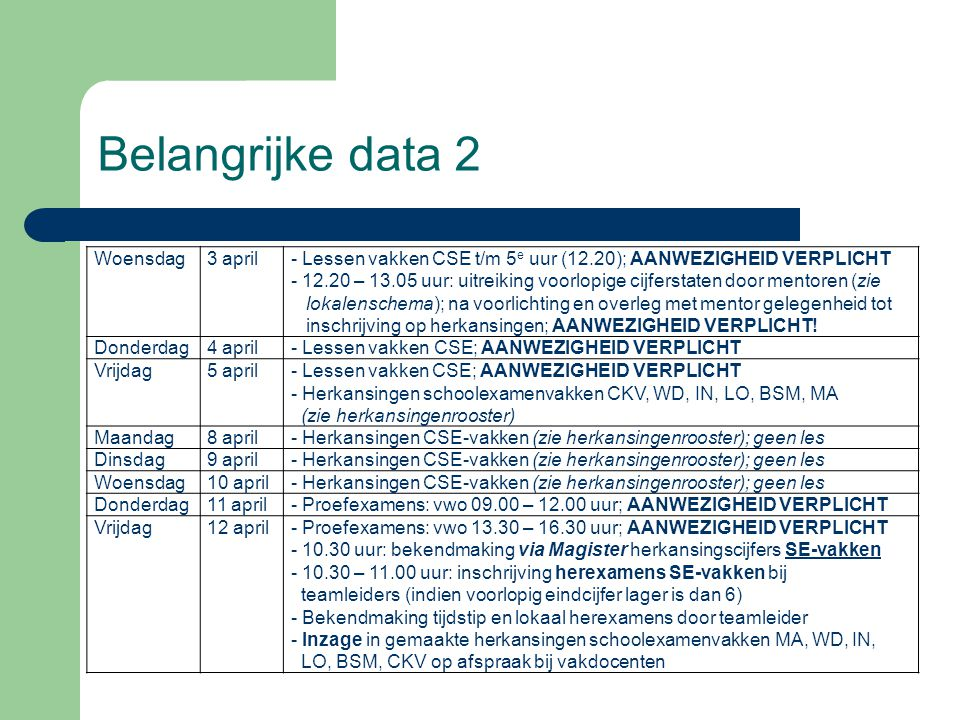 Belangrijke data 2 Woensdag3 april- Lessen vakken CSE t/m 5 e uur (12.20); AANWEZIGHEID VERPLICHT - 12.20 – 13.05 uur: uitreiking voorlopige cijfersta